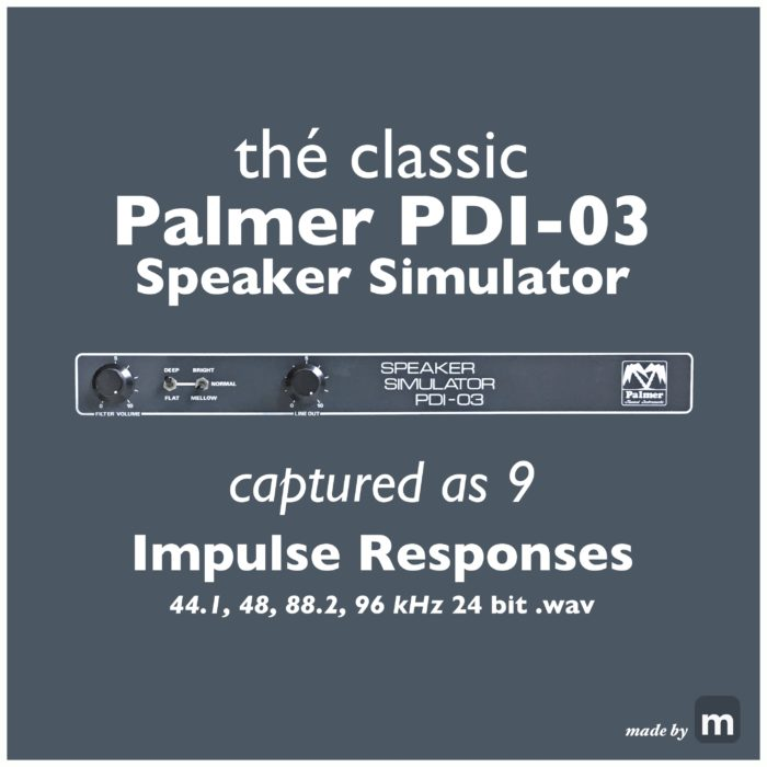 Today I have added a new product to the Melodiefabriek shop: IR-03, a package of 9 different sounding Impulse Responses which were captured using my trusty old Palmer PDI-03 Speaker Simulator.